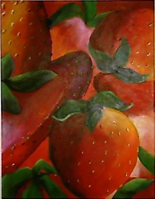 Strawberries by Jo Allebach Acrylic ~ 28 x 22