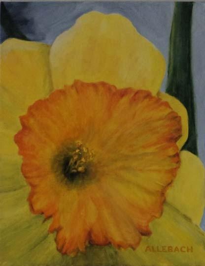 Happy Daffodil 14 x 11 by Jo Allebach Acrylic ~ 14 x 11