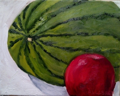watermelon and apple by Jo Allebach Oil ~ 8 x 10