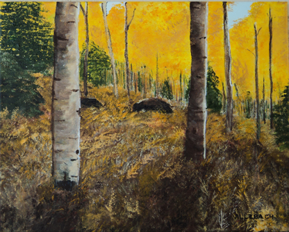 golden aspens and fern by Jo Allebach Acrylic ~ 16 inches x 20 inches