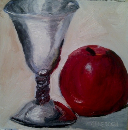 Goblet and apple by Jo Allebach Oil ~ 6 x 6