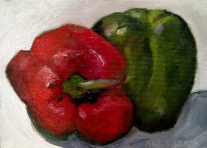 Colorful Peppers 2 by Jo Allebach Oil ~ 5 inches x 7 inches