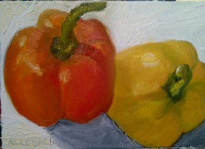 Colorful Peppers 1 by Jo Allebach Oil ~ 5 inches x 7 inches