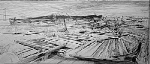 """KREISCHERVILLE MORNING by Bill Murphy Pencil ~ 12"""" x 22"""""""