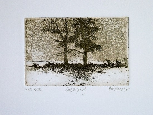 "My First Etching; Two Trees, Eltingville Beach by Bill Murphy Etching ~ 2"" x 4"""