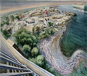 ALONG THE ARTHUR KILL by Bill Murphy Watercolor ~ 54 x 62