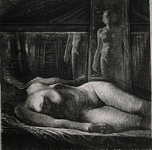 """Model and Artist by Bill Murphy Charcoal ~ 40"""" x 42"""""""