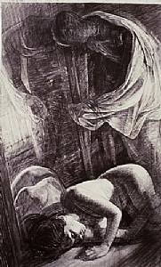 """figure with mannequinn by Bill Murphy Charcoal ~ 72"""" x 40"""""""