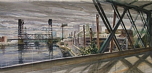 "newark detail by Bill Murphy Watercolor ~ 16"" x 120"""
