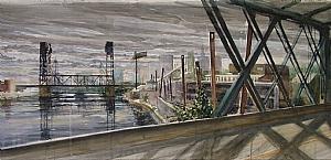 """newark detail by Bill Murphy Watercolor ~ 16"""" x 120"""""""