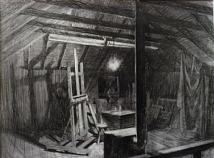 "study for Nighthawk Studio by Bill Murphy Pencil ~ 20"" x 26"""