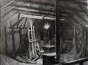 "study for Nighthawk Studio by Bill Murphy Pencil ~ 20"" x 26"""