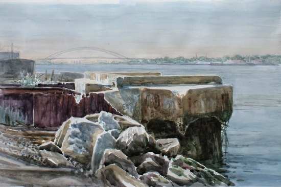 The Arthur Kill, Behind the Getty Station by Bill Murphy Watercolor ~  x
