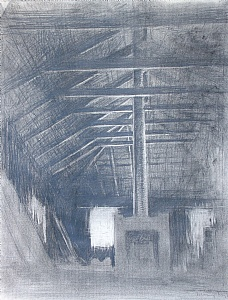 Studio, 1988 by Bill Murphy Pencil ~ 24 x 18