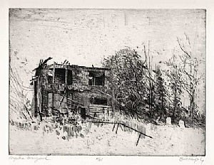 The Forgotten Graveyard by Bill Murphy Etching ~ 9 x 12
