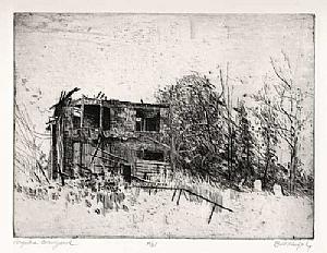 The Forgotten Graveyard by Bill Murphy Etching ~ 9 x 12