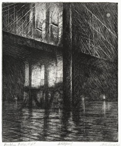 Brooklyn Bridge, Night by Bill Murphy etching with drypoint ~ 11 x 9