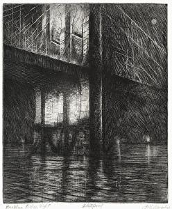 Brooklyn Bridge, Night by Bill Murphy etching with drypoint ~ 11 x 9