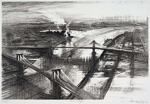 Three Bridges by Bill Murphy Lithograph ~ 14 x 20