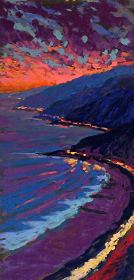 Pacific Coast Highway from Pacific Palisades - Pastel