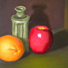 Still life with orange, apple, and vase