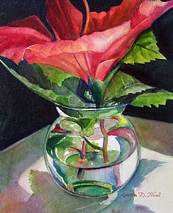Hibiscus by Linda Neal Watercolor ~ 10.50 x 8.50