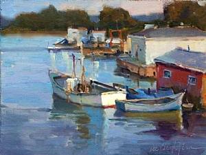 Little Red Boathouse by Dee Beard Dean Oil ~ 11 x 14