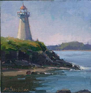Lighthouse Blues by Dee Beard Dean Oil ~ 12 x 12