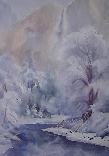 Snowy Yosemite - Watercolor