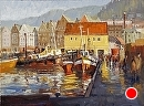 Old Norway Harbor by Jim Wodark Oil ~ 18 x 24