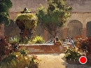 Mission Fountain by Jim Wodark Oil ~ 12 x 16