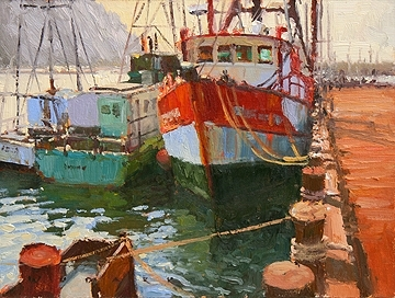 Morro Bay Memories by Jim Wodark Oil ~ 12 x 16