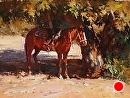 Rest Stop by Jim Wodark Oil ~ 9 x 12