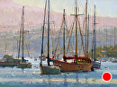 Sunny Newport Harbor by Jim Wodark Oil ~ 18 x 24