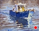 Little Blue Boat by Jim Wodark Oil ~ 8 x 10