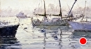 Misty Morning Tug by Jim Wodark Oil ~ 12 x 20