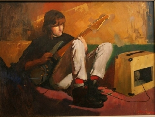 Bryan and His Guitar by Charles Cox Oil ~ 18 inches x 24 inches