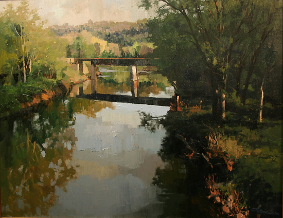 """Rail Bridge at Kingston Springs"" by Charles Cox Oil ~ 22"" x 28"""