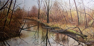 "Amber Days on The Menantico Creek by Bobbie Berg Acrylic ~ 6"" x 12"""