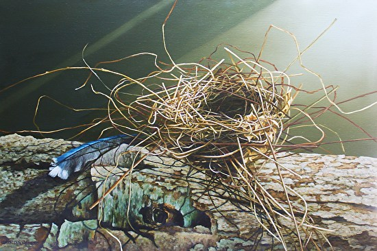nest and feather on log - Oil