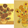 "Ann Taylor's embroidered interpretation of Van Gogh's ""Sun Flowers"""