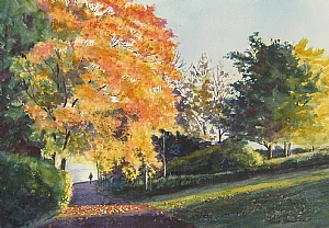 "AUTUMN GLOW by Enda Bardell Watercolour ~ framed 16"" x 20"""