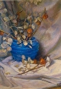 "Blue Vase of Silver Dollars by marie walker Pastel ~ 32 "" x 28 """