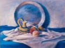 "Still Life with Silver Plate by marie walker Pastel ~ 20"" x 26"""