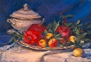 "Tureen with Pomegranates by marie walker Pastel ~ 22"" x 26"""