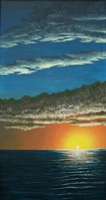 "Outer Banks Sunset by Pat Quinn Oil ~ 48"" x 24"""