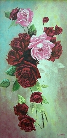 "Roses by Pat Quinn Oil ~ 28"" x 15"""