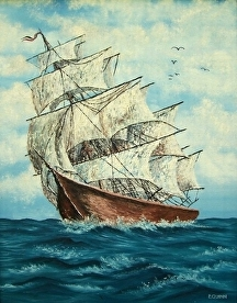 Clipper Ship by Pat Quinn Oil ~ 28 x 22