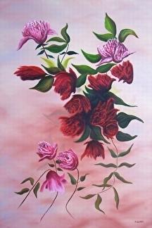 """Flowers In A Dream by Pat Quinn Oil ~ 36"""" x 24"""""""