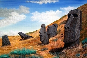 Easter Island-Original Framed Oil